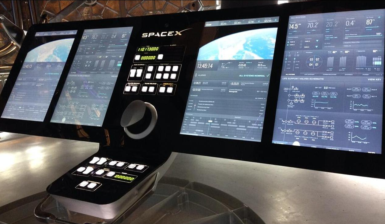 SpaceX Crew Dragon console